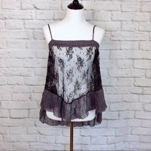 Free People black sheer lacy camisole